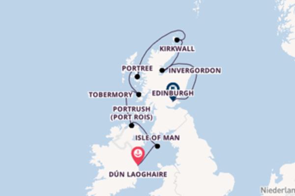 9-tägige Kreuzfahrt von Dún Laoghaire nach Edinburgh