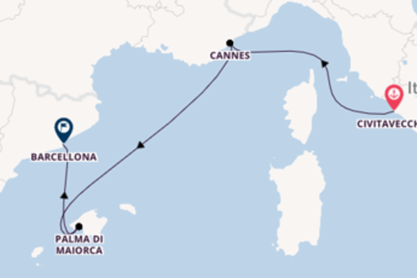 Meravigliosa crociera di 4 giorni verso Barcellona