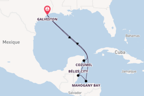8 jours de navigation à bord du bateau Carnival Freedom vers Galveston