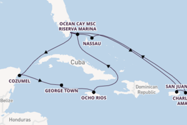 15 giorni di crociera fino a Miami