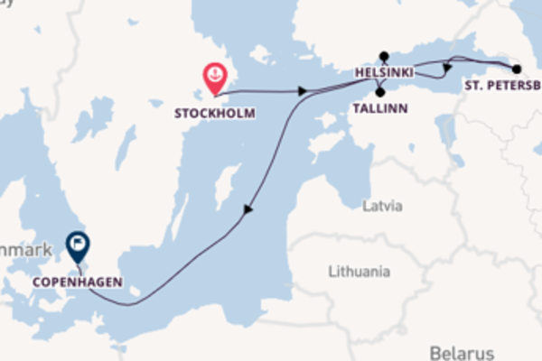 Expedition from Stockholm to Copenhagen via St. Petersburg