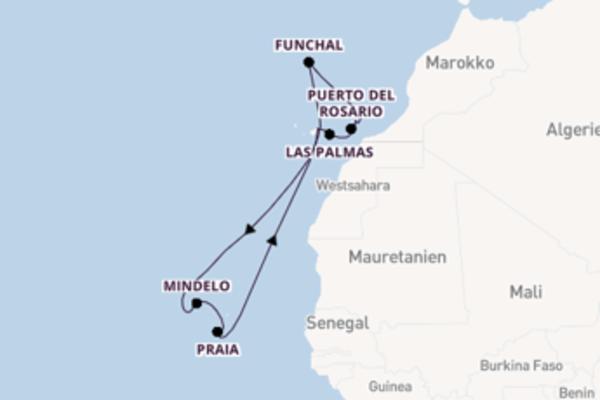 In 15 Tagen nach Santa Cruz de Tenerife über Arrecife