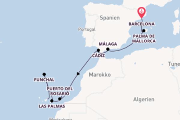 Barcelona, Puerto del Rosario und Santa Cruz de Tenerife erkunden