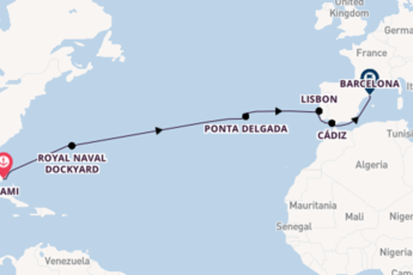 Voyage with Oceania Cruises from Miami to Barcelona