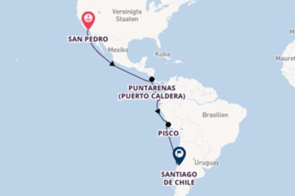 Großartige Kreuzfahrt über Puntarenas (Puerto Caldera) nach Santiago de Chile