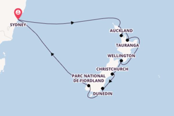 Tauranga, depuis Sydney à bord du bateau Majestic Princess