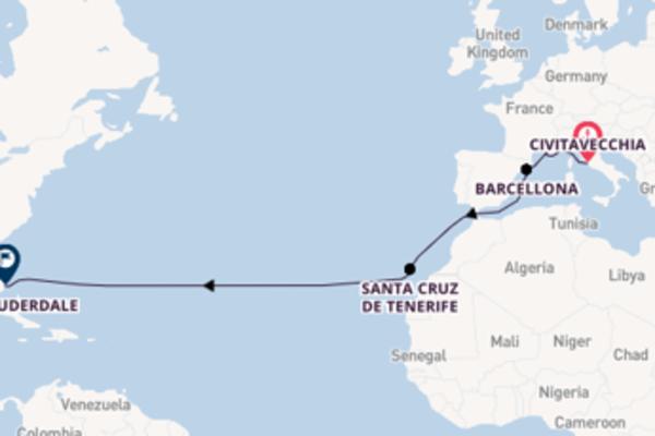 Vivace crociera da Civitavecchia verso Barcellona