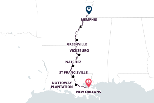 Traveling from New Orleans to Memphis, Tennessee 9-Day Cruise