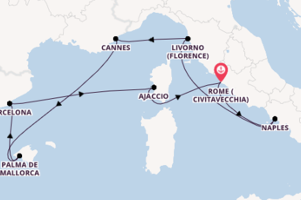 Vibrant cruise from Rome (Civitavecchia) with Norwegian Cruise Line