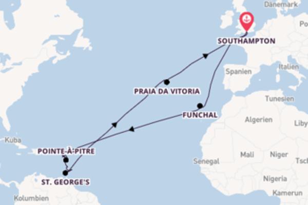 Spannende Kreuzfahrt über Funchal ab Southampton