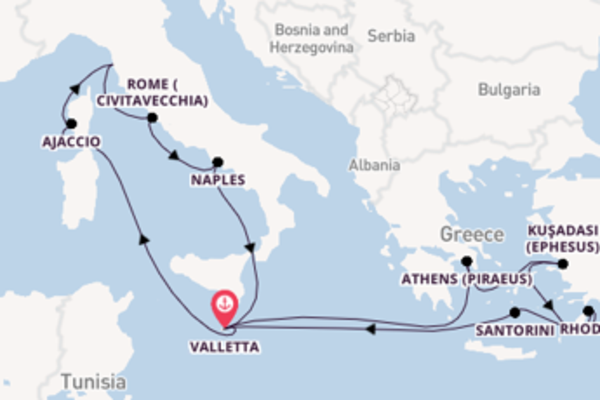 Voyage with P&O Cruises from Valletta