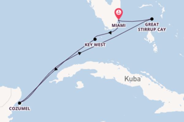 Großartige Kreuzfahrt über Cozumel nach Miami