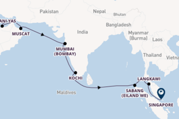 18-daagse cruise vanaf Dubai