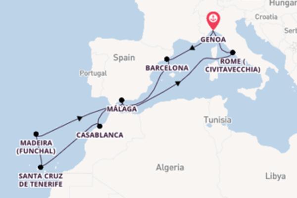 12 day voyage on board the MSC Splendida from Genoa