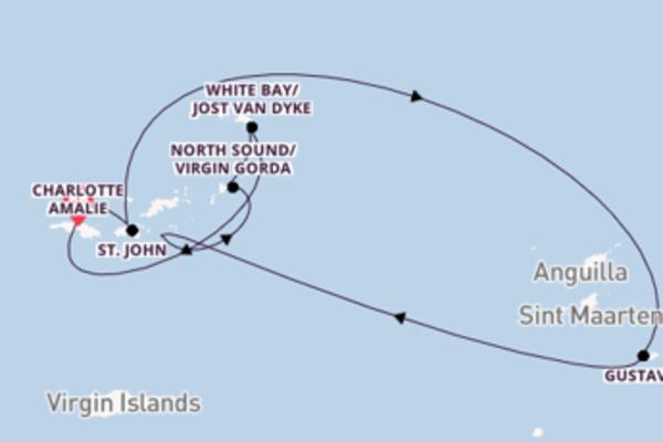 In 8 Tagen nach Charlotte Amalie über Gustavia