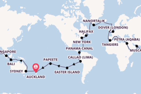 109 day journey on board the Sea Princess from Auckland