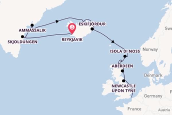 Prendere il largo verso Londra/Dover da Reykjavik