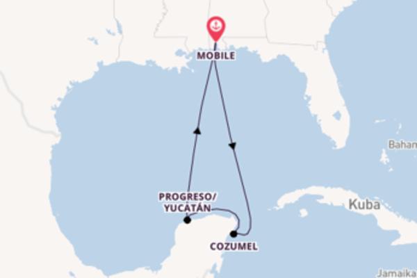 In 6 Tagen nach Mobile über Cozumel