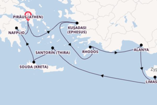 In 10 Tagen nach Piräus (Athen) über Alanya