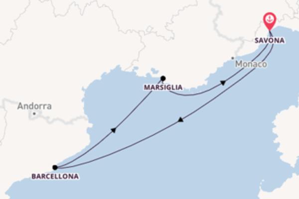 Crociera da Savona verso Marsiglia