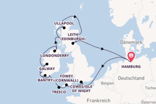 Herrliche Kreuzfahrt über Ullapool, Schottland nach Hamburg, Deutschland