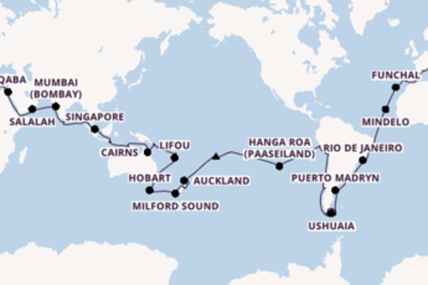 117-daagse cruise vanaf Barcelona, Spanje