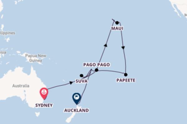 32 giorni di crociera fino a Auckland