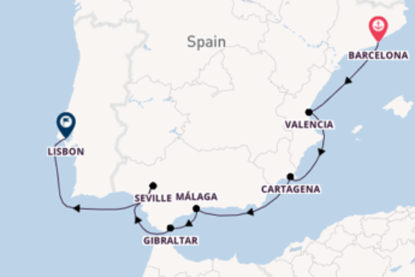 9 day journey on board the Azamara Quest from Barcelona