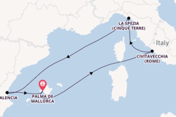 Vaar met de Neue Mein Schiff 2  naar Palma de Mallorca