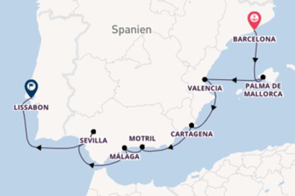 Beeindruckende Kreuzfahrt von Barcelona nach Lissabon