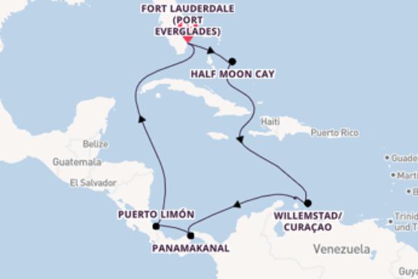 Von Fort Lauderdale (Port Everglades) über Willemstad/Curaçao in 11 Tagen