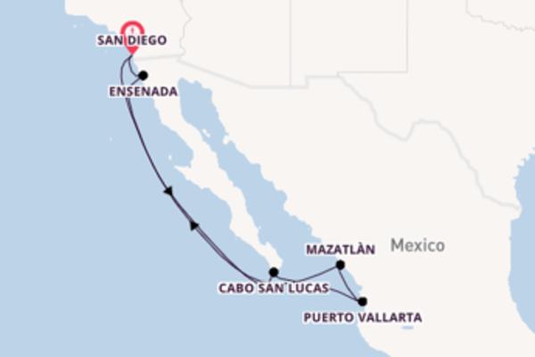 Cruise naar San Diego via Cabo San Lucas