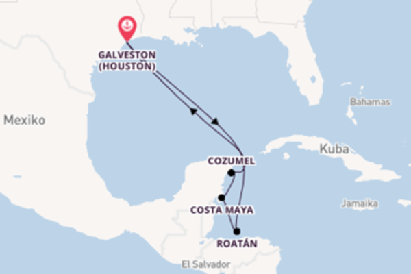 Erleben Sie 8 Tage Costa Maya und Galveston (Houston)