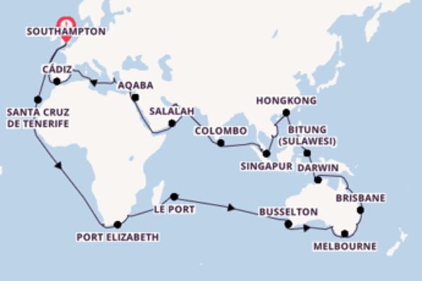 Einzigartige Reise um die Welt ab/bis Southampton