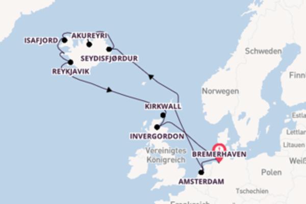 15-tägige Kreuzfahrt bis Bremerhaven