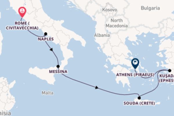 Sailing with Viking Ocean Cruises from Civitavecchia (Rome) to Athens (Piraeus)