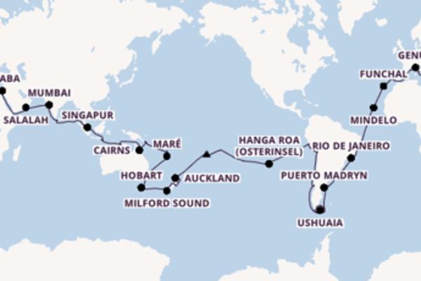 In 117 Tagen nach  über Tauranga, Neuseeland
