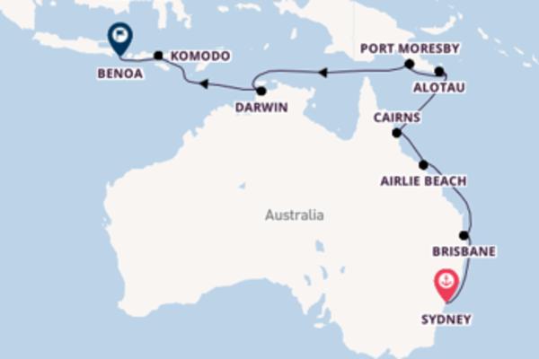 Prendere il largo verso Benoa da Sydney