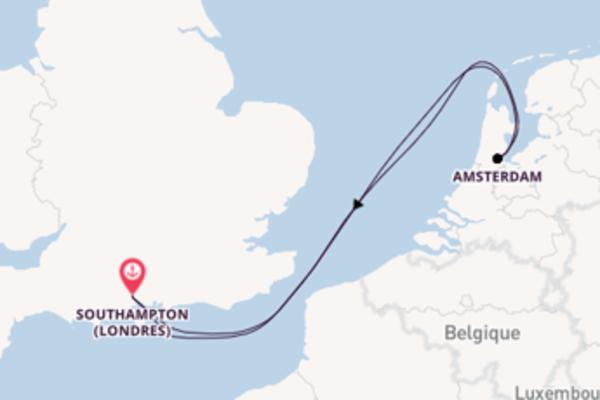 Amsterdam, depuis Southampton (Londres) à bord du bateau Arcadia