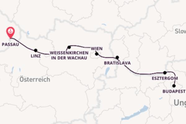 In 15 Tagen nach Passau, Deutschland über Wien, Österreich