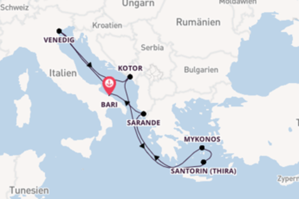 8-tägige Kreuzfahrt bis Bari