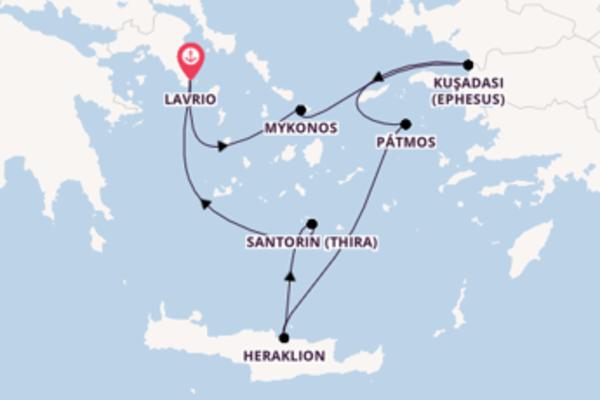 Zauberhafte Kreuzfahrt über Heraklion nach Lavrio