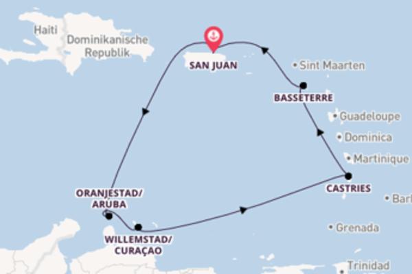 Faszinierende Kreuzfahrt über Oranjestad nach San Juan