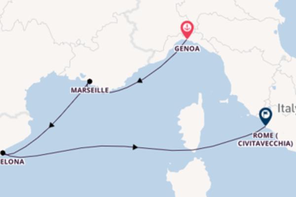 Sailing from Genoa via Barcelona