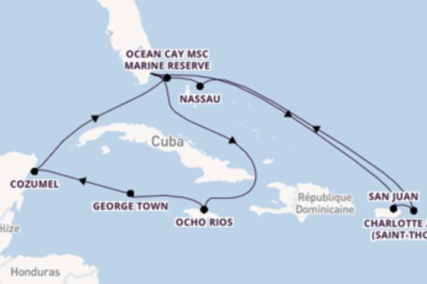 Ressentez à bord du bateau MSC Meraviglia, la destination: Charlotte Amalie (Saint-Thomas)