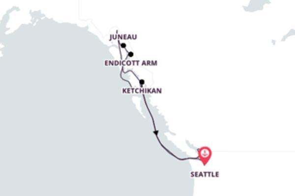 Agradável cruzeiro de 8 dias até Vancouver