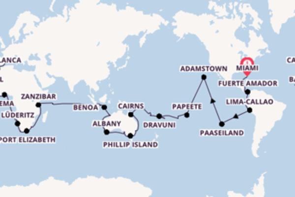 Spectaculaire 141-daagse wereldcruise vanuit Miami