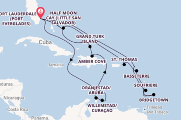22 day cruise with the ms Nieuw Statendam to Fort Lauderdale (Port Everglades)