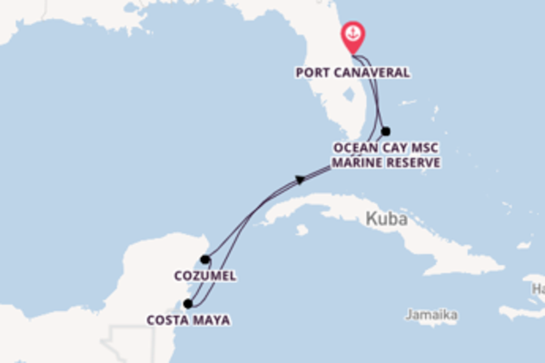 In 8 Tagen nach Port Canaveral über Cozumel