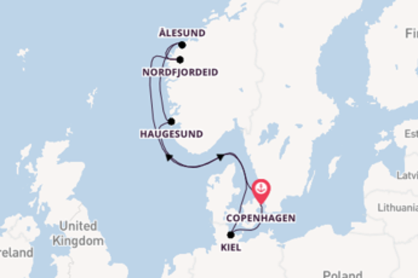 Suggestiva crociera da Copenhagen verso Nordfjordeid